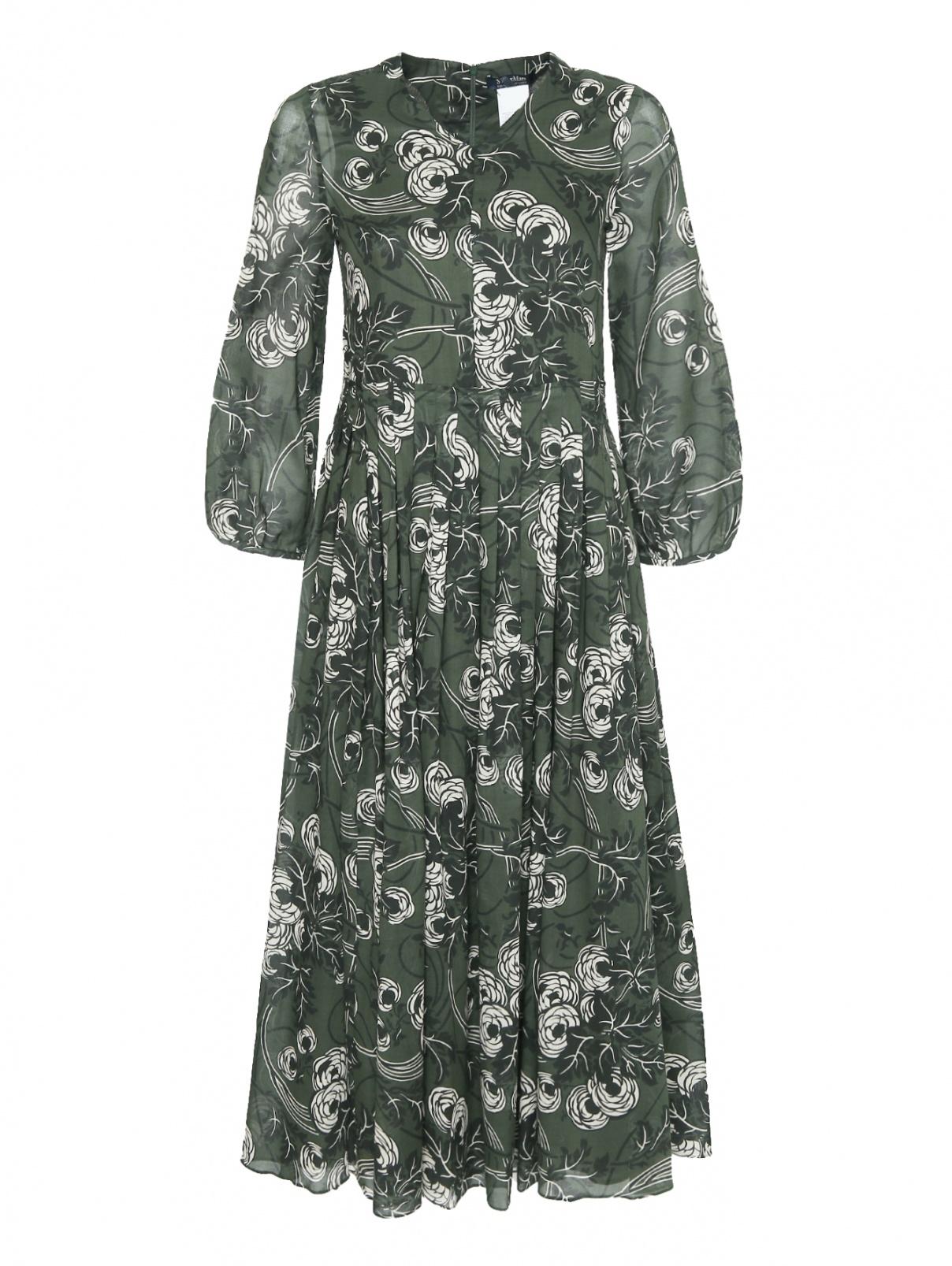 Платье-миди из хлопка с узором Max Mara  –  Общий вид  – Цвет:  Зеленый