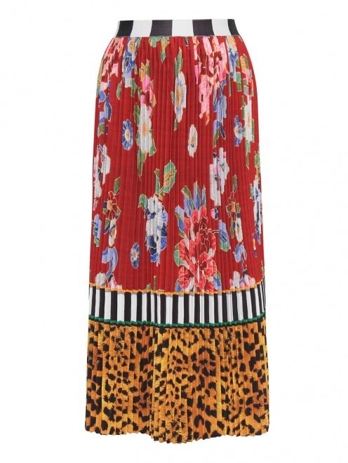 Юбка А-силуэта с цветочным узором  - Общий вид