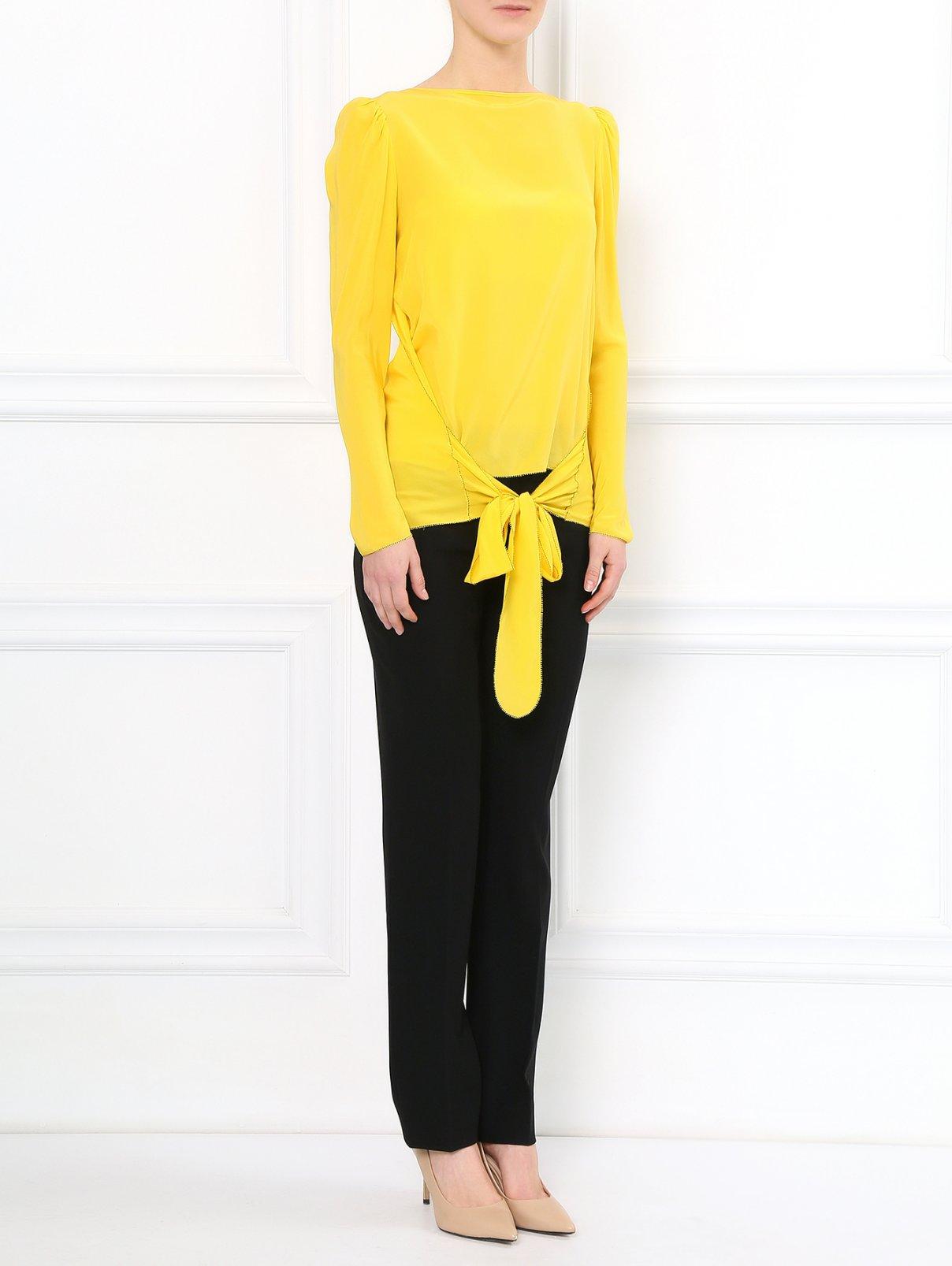 Блуза из шелка с объемнми рукавами See by Chloé  –  Модель Общий вид  – Цвет:  Желтый