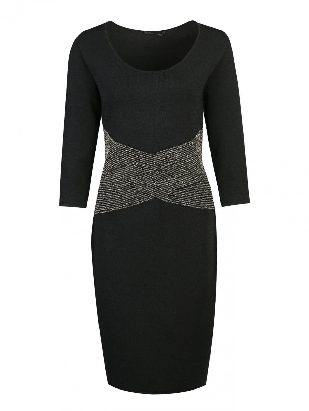 Платье трикотажное с отделкой люрексом на поясе Marina Rinaldi  –  Общий вид