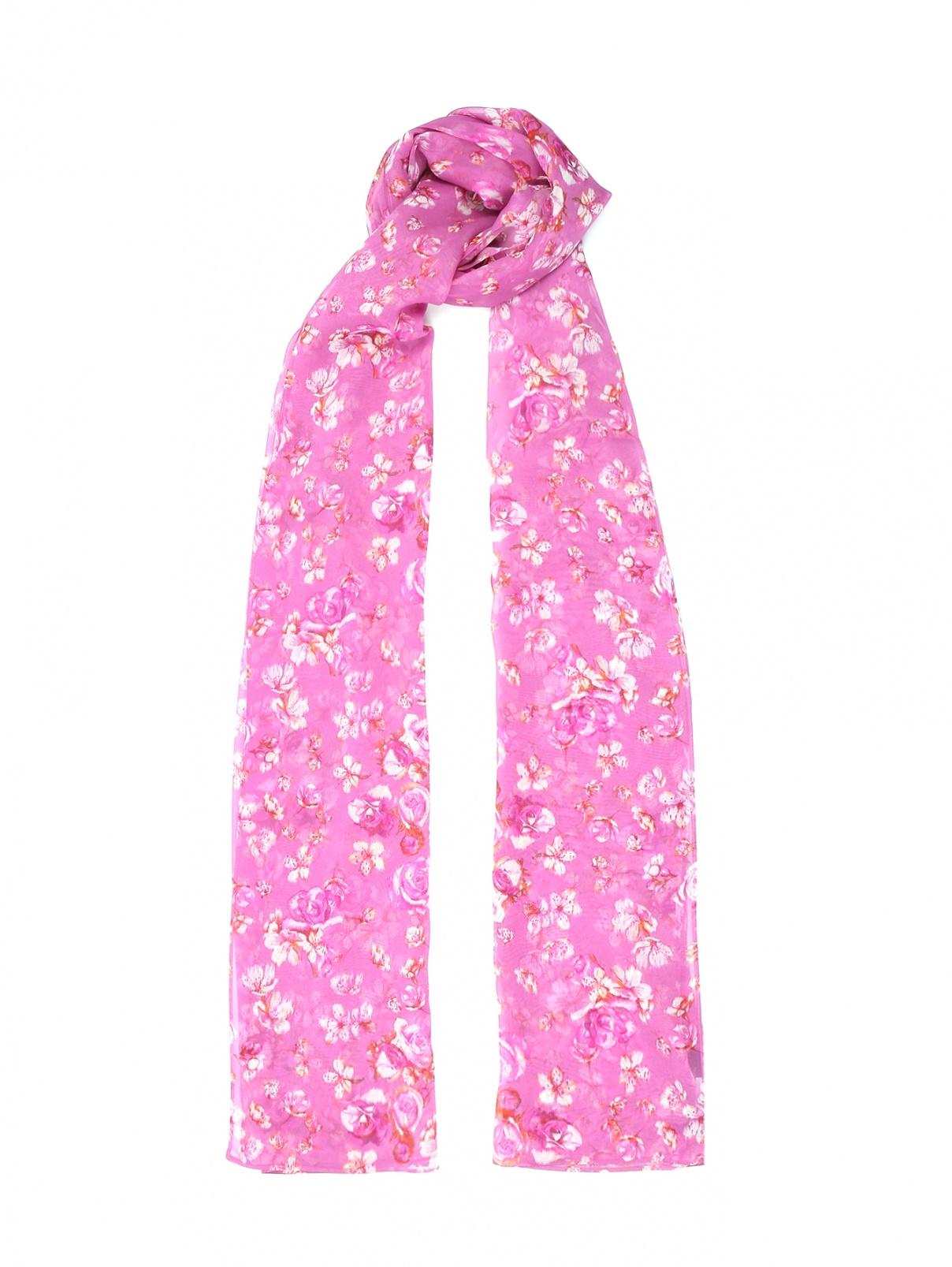 Шарф из шелка с цветочным узором Marina Rinaldi  –  Общий вид  – Цвет:  Фиолетовый