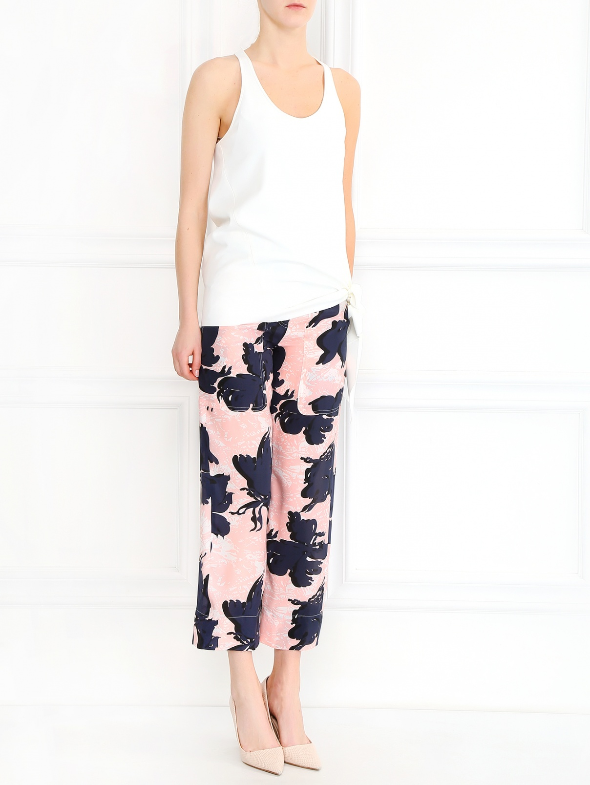 Укороченные брюки из шелка Cedric Charlier  –  Модель Общий вид  – Цвет:  Узор