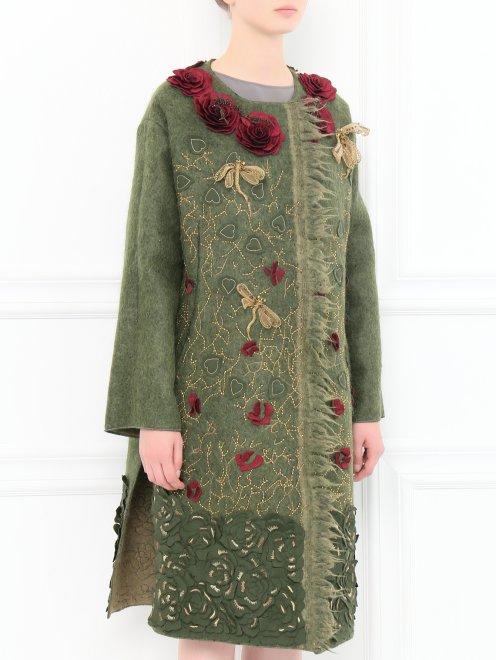 Пальто из шерсти с боковыми карманами декорированное вышивкой  - Модель Верх-Низ