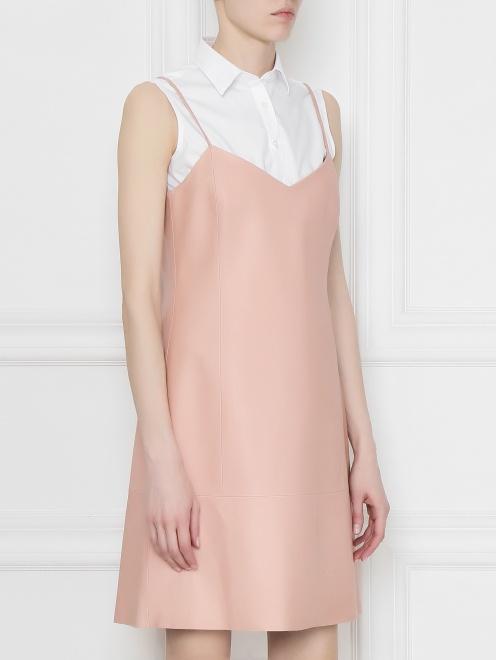 Платье из кожи пряиого кроя  - МодельВерхНиз