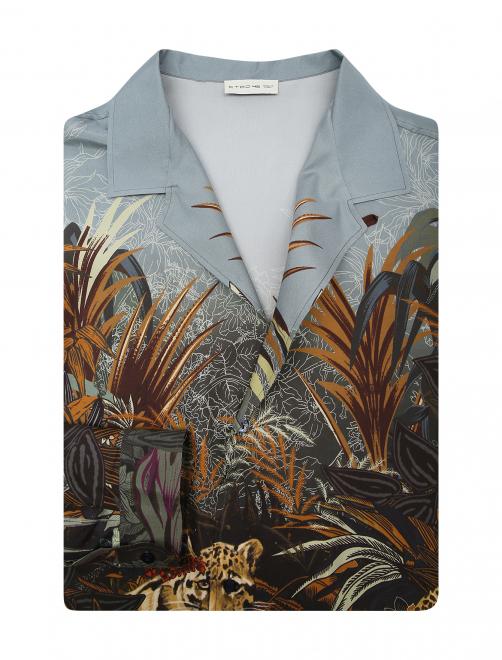 Рубашка из шелка с принтом - Общий вид