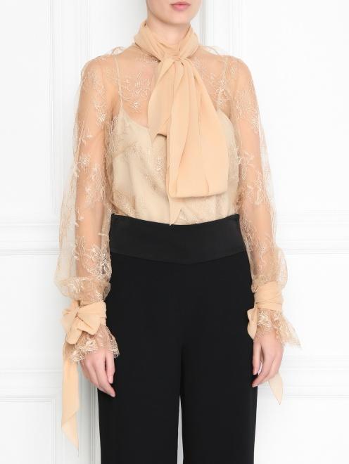 Блуза из шелка с кружевным узором - МодельВерхНиз
