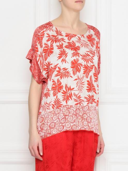 Блуза из ткани с принтом - МодельВерхНиз