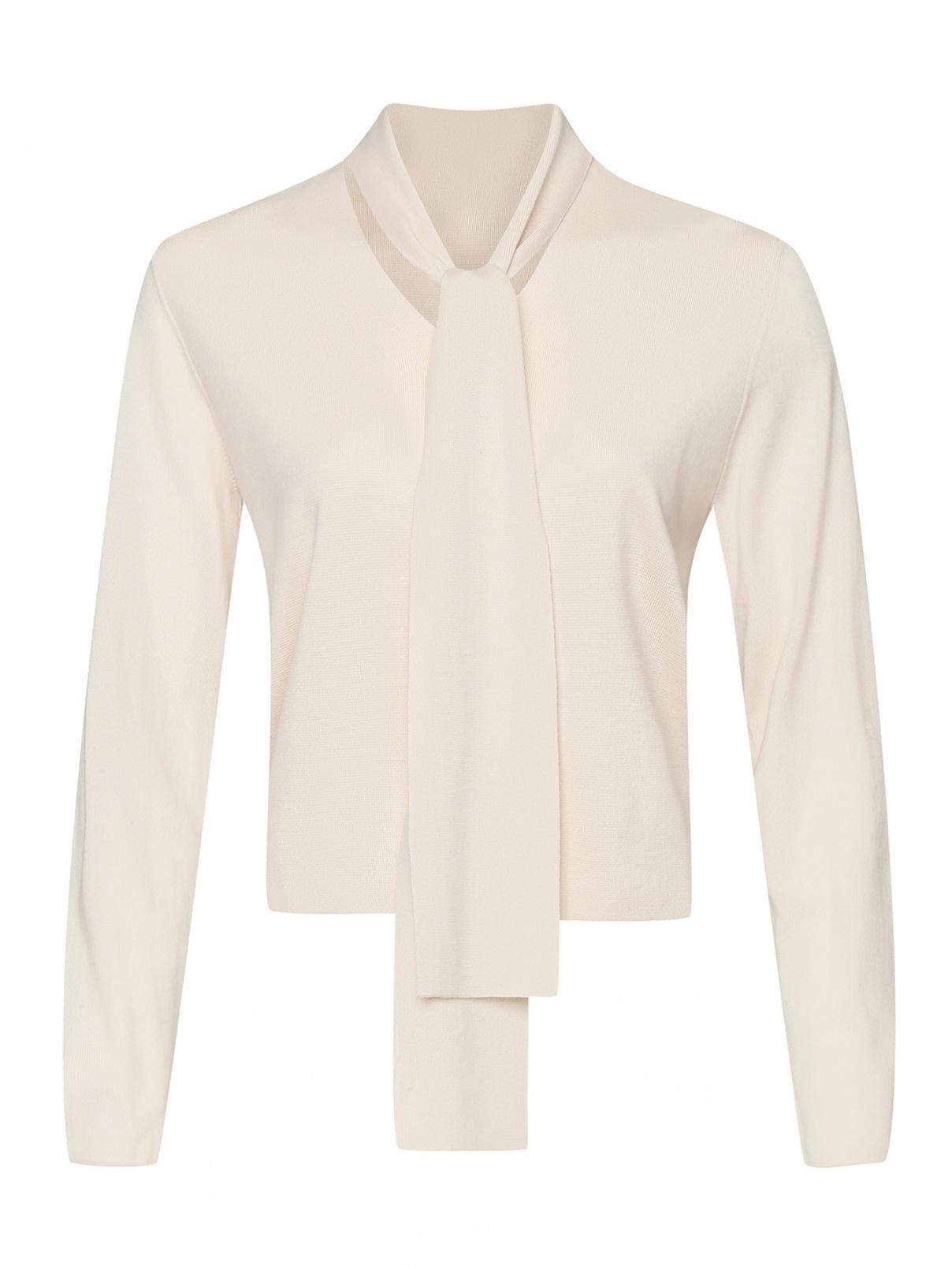 Джемпер из шерсти с декором Allude  –  Общий вид  – Цвет:  Бежевый