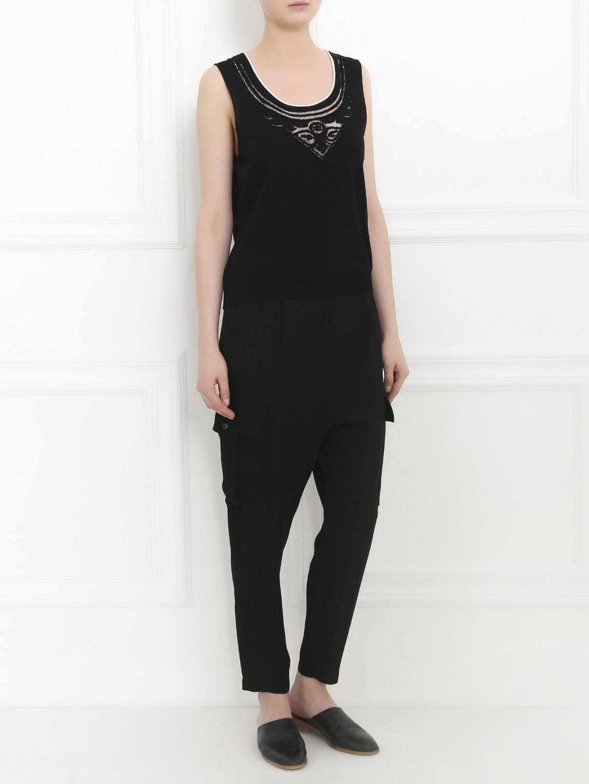 Укороченные брюки с накладными карманами Isola Marras  –  Модель Общий вид  – Цвет:  Черный