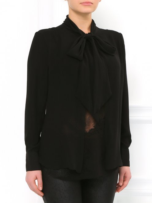 Блуза из шелка с кружевом - Модель Верх-Низ