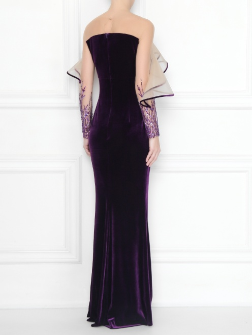 Платье бархатное с вышивкой бисером и пайетками  - МодельВерхНиз1