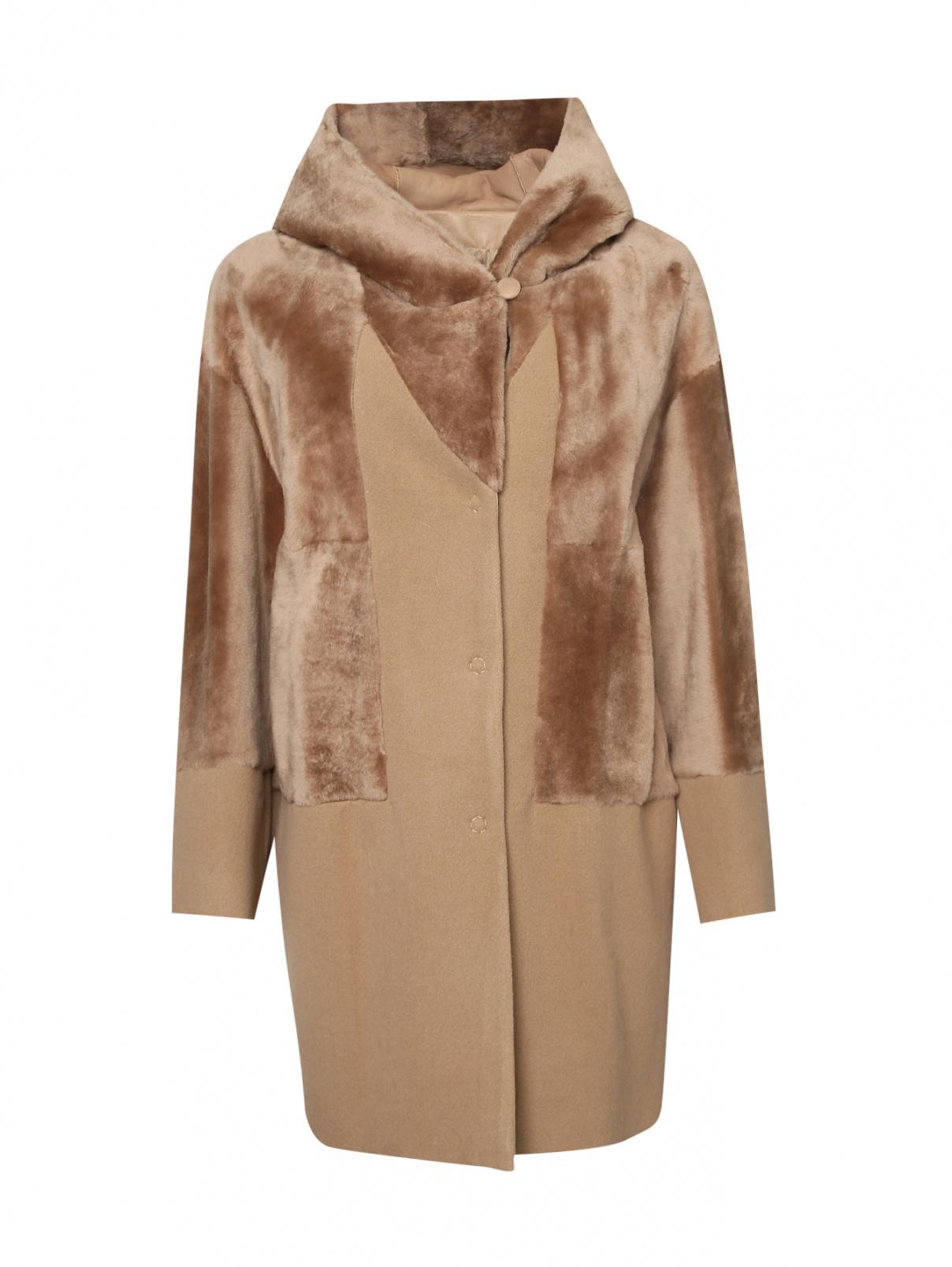 Пальто из шерсти и искусственного меха DROMe  –  Общий вид  – Цвет:  Бежевый