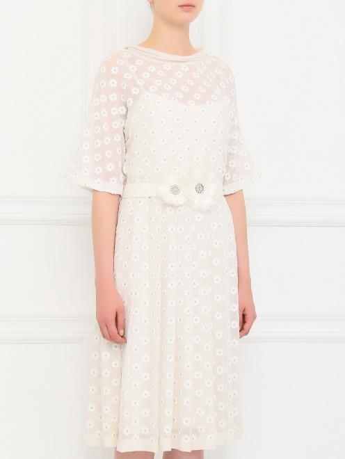 Платье из шелка с вышивкой - Модель Верх-Низ