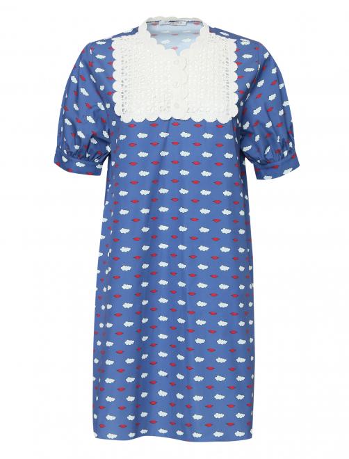 Платье из хлопка с принтом с кружевной вышивкой - Общий вид