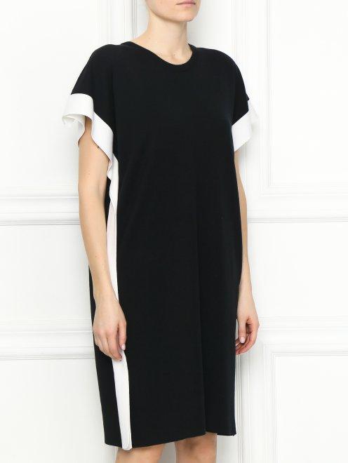 Платье из хлопка и шелка с контрастной отделкой - МодельВерхНиз