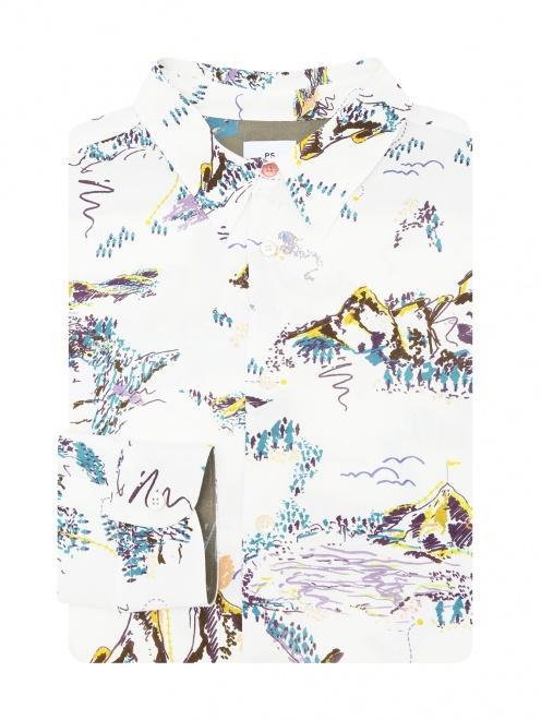 Рубашка из вискозы с узором - Общий вид