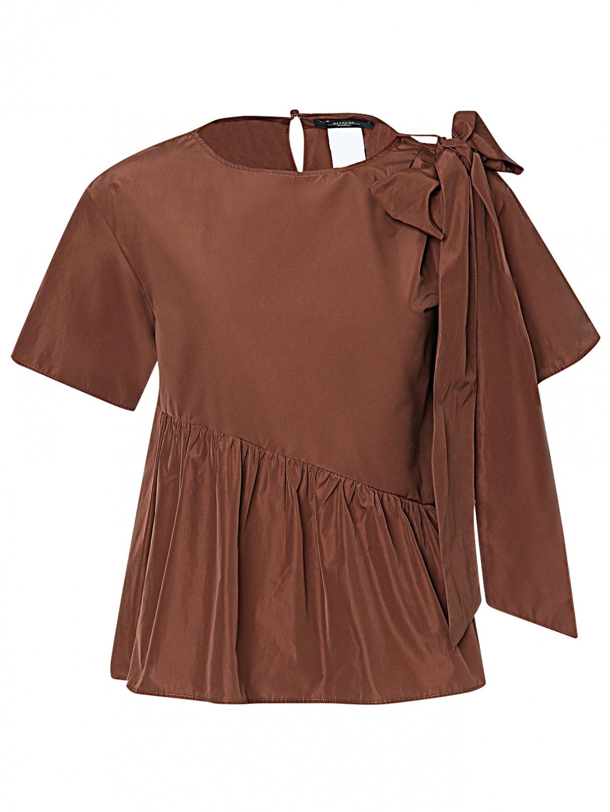 Блуза свободного кроя с бантом Weekend Max Mara  –  Общий вид  – Цвет:  Коричневый