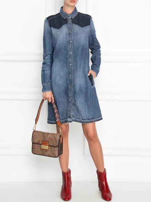 Платье из денима с контрастной отделкой - Общий вид