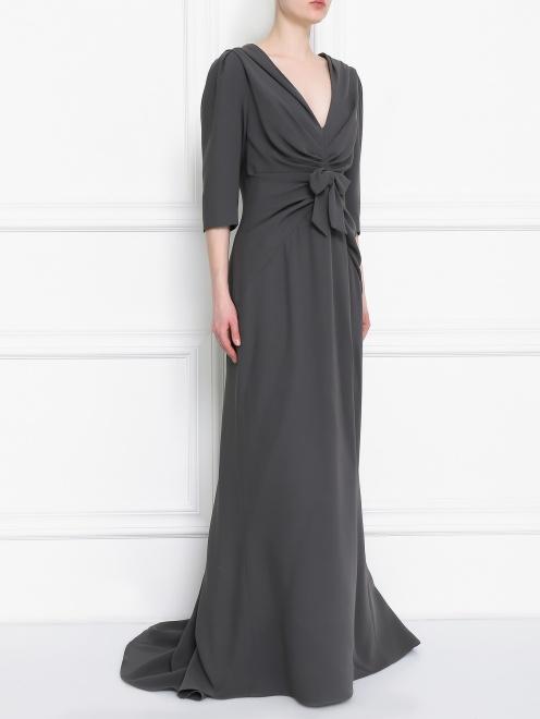 Платье-макси из шелка с драпировкой - Модель Верх-Низ