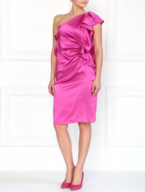 Шелковое платье с декоративным воланом - Общий вид