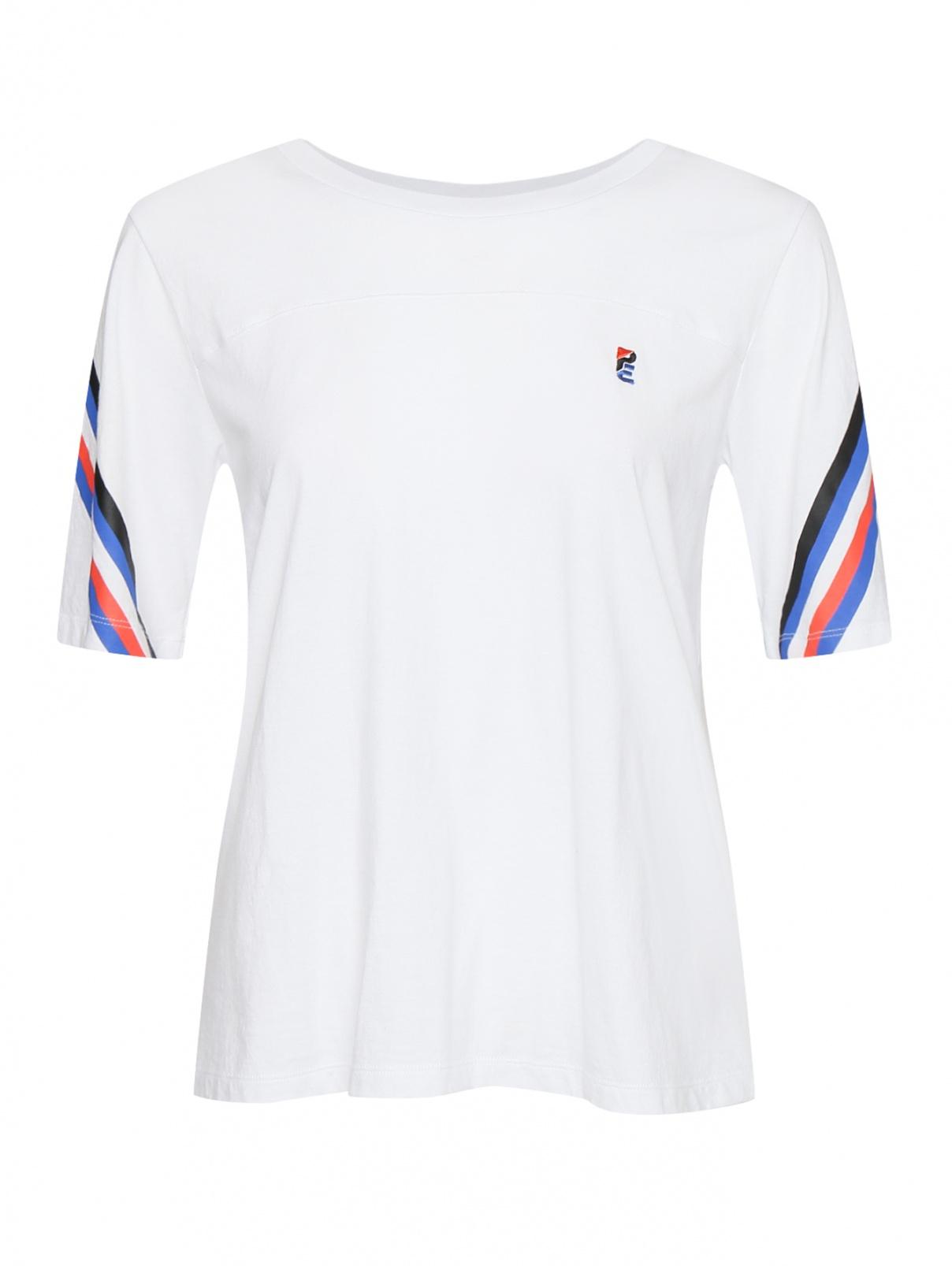 Футболка из хлопка с принтом P.E NATION  –  Общий вид  – Цвет:  Белый