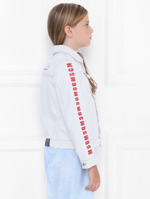Куртка из денима с принтом - МодельВерхНиз2