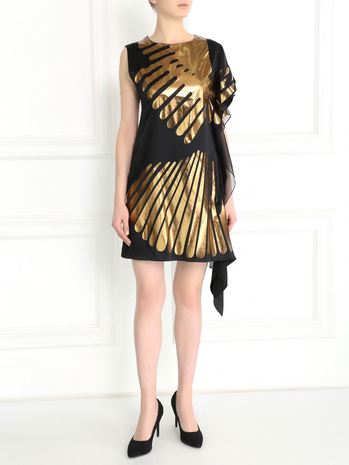 Асимметричное платье-мини из шелка с принтом Rue du Mail  –  Модель Общий вид  – Цвет:  Черный