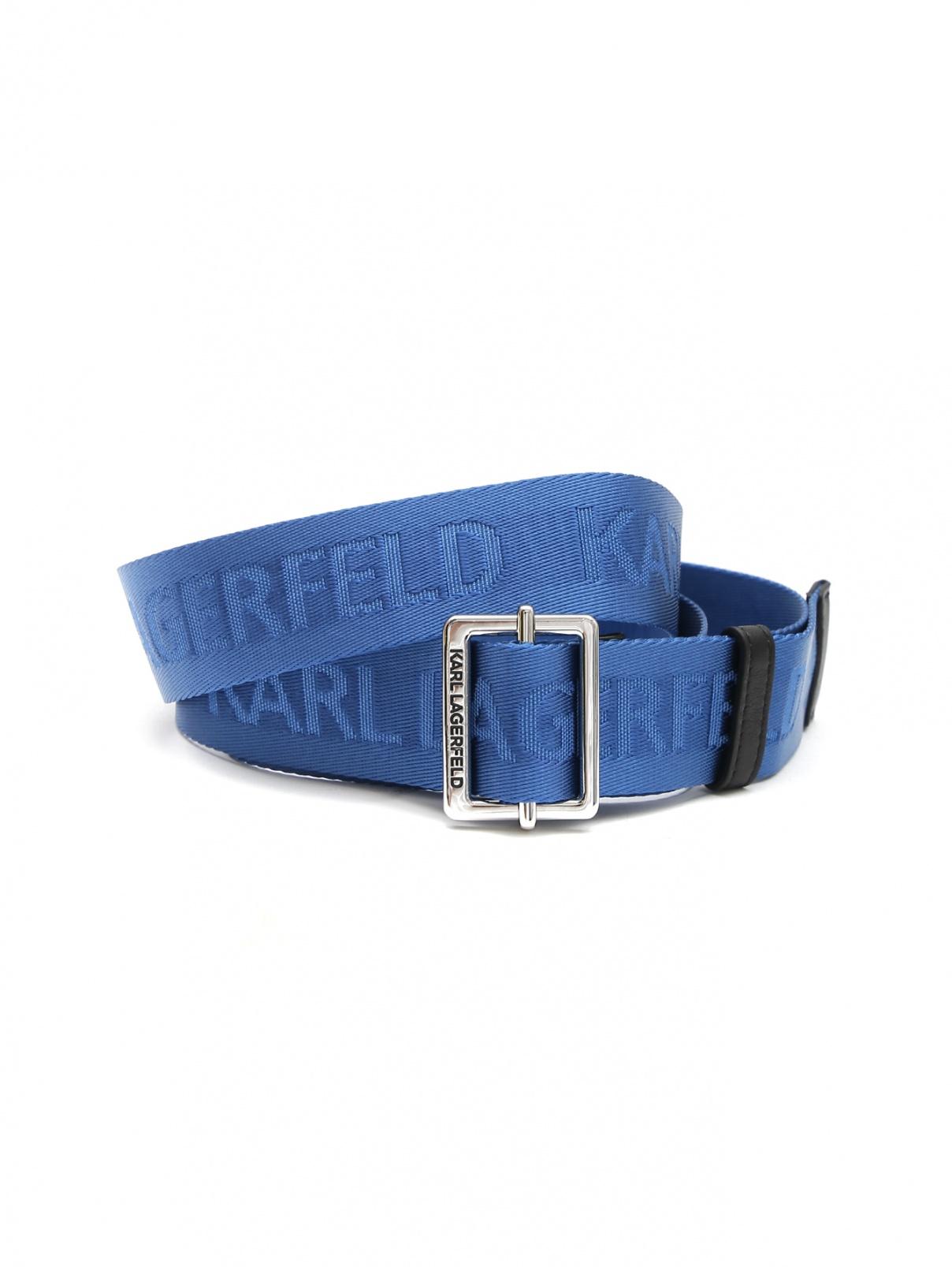 Ремень с логотипом Karl Lagerfeld  –  Общий вид  – Цвет:  Синий
