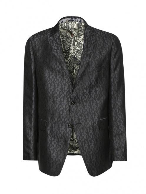 Пиджак однобортный из шелка с узором - Общий вид