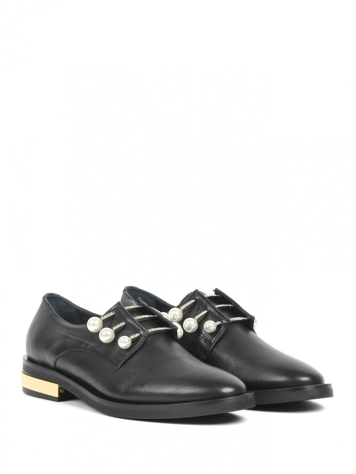 Туфли из фактурной кожи с декором Coliac  –  Общий вид  – Цвет:  Черный
