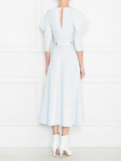 Платье макси с металлическими пуговицами и ассиметричным воротником  - МодельВерхНиз1