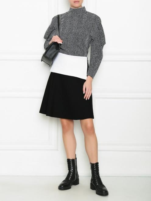 Трикотажная юбка с контрастной баской и молнией  - Общий вид