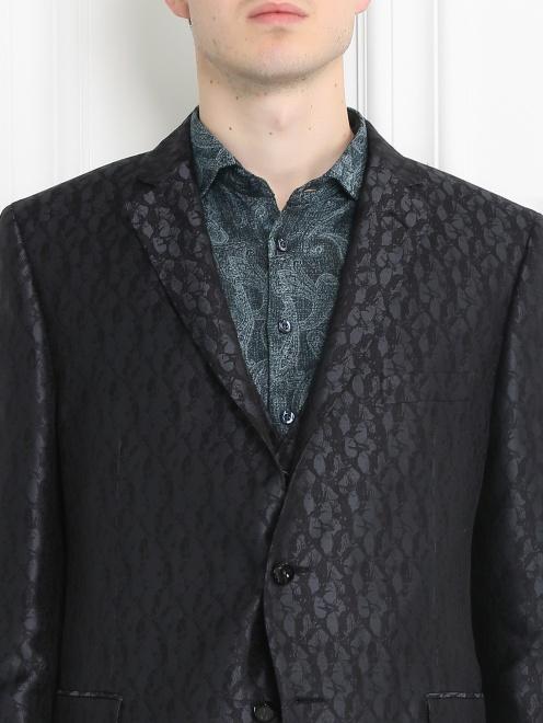Пиджак однобортный из шелка с узором - МодельОбщийВид1