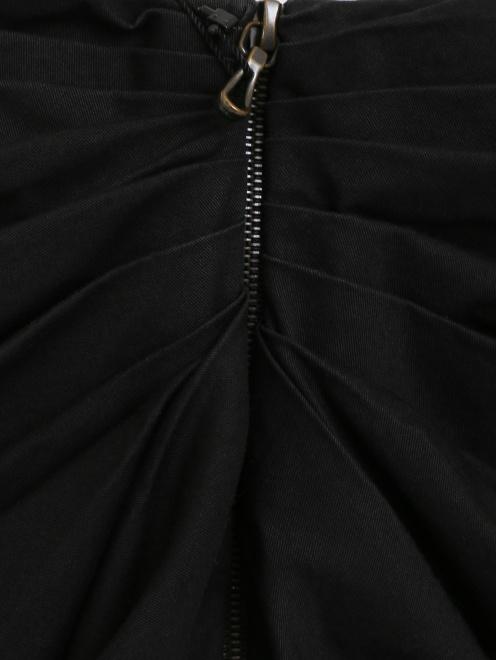 Юбка-мини из хлопка с драпировкой  - Деталь