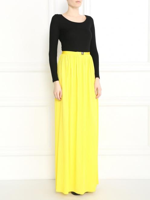 Плиссированная юбка-макси с металлической фурнитурой - Общий вид