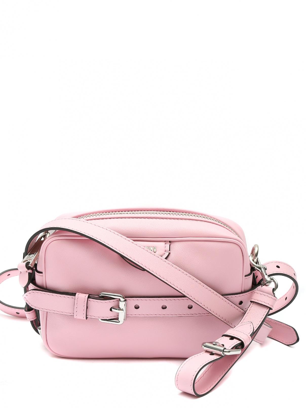 Сумка из кожи на плечевом ремне Moschino  –  Общий вид  – Цвет:  Розовый