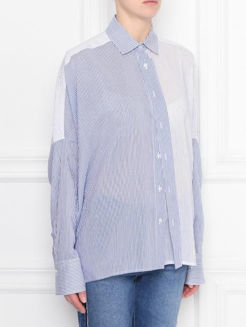 Блуза из хлопка и шелка в полоску - МодельВерхНиз