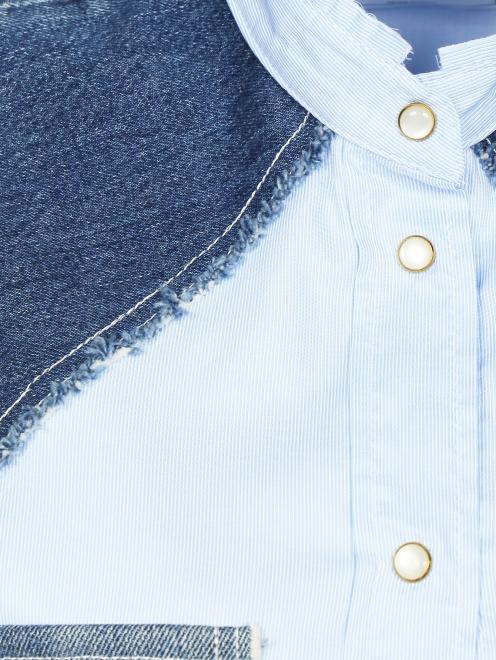 Блуза из хлопка с вставками и карманами  из денима - Деталь1