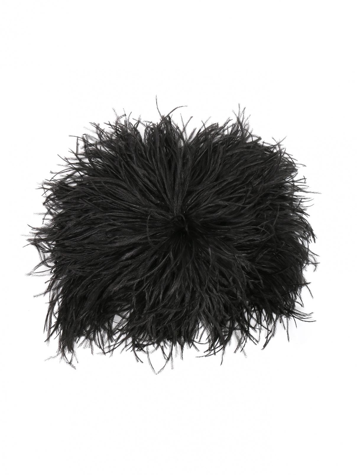 Берет с перьями страуса N21  –  Общий вид  – Цвет:  Черный