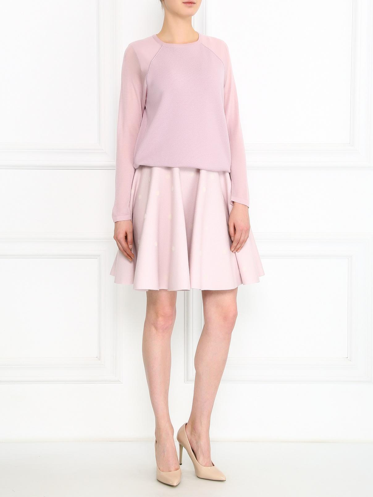Джемпер из шерсти и кашемира мелкой вязки Giambattista Valli  –  Модель Общий вид  – Цвет:  Розовый