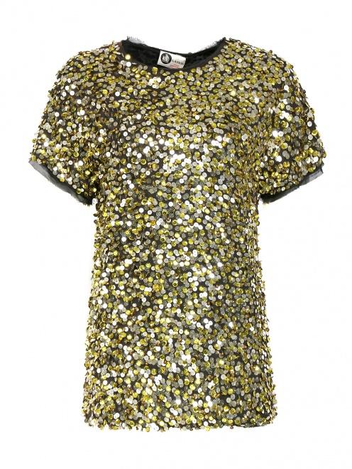 Блуза из хлопка декорированная пайетками - Общий вид