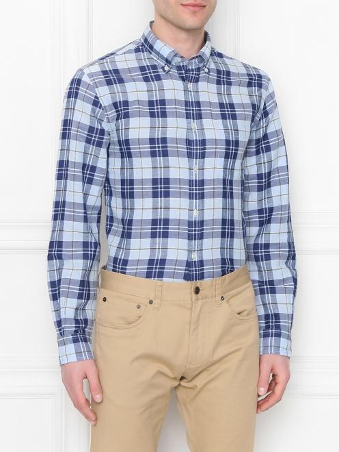 Рубашка из хлопка и льна с узором - МодельВерхНиз