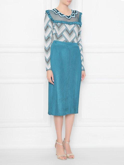 Платье трикотажное с рисунком и плиссированной юбкой - МодельВерхНиз