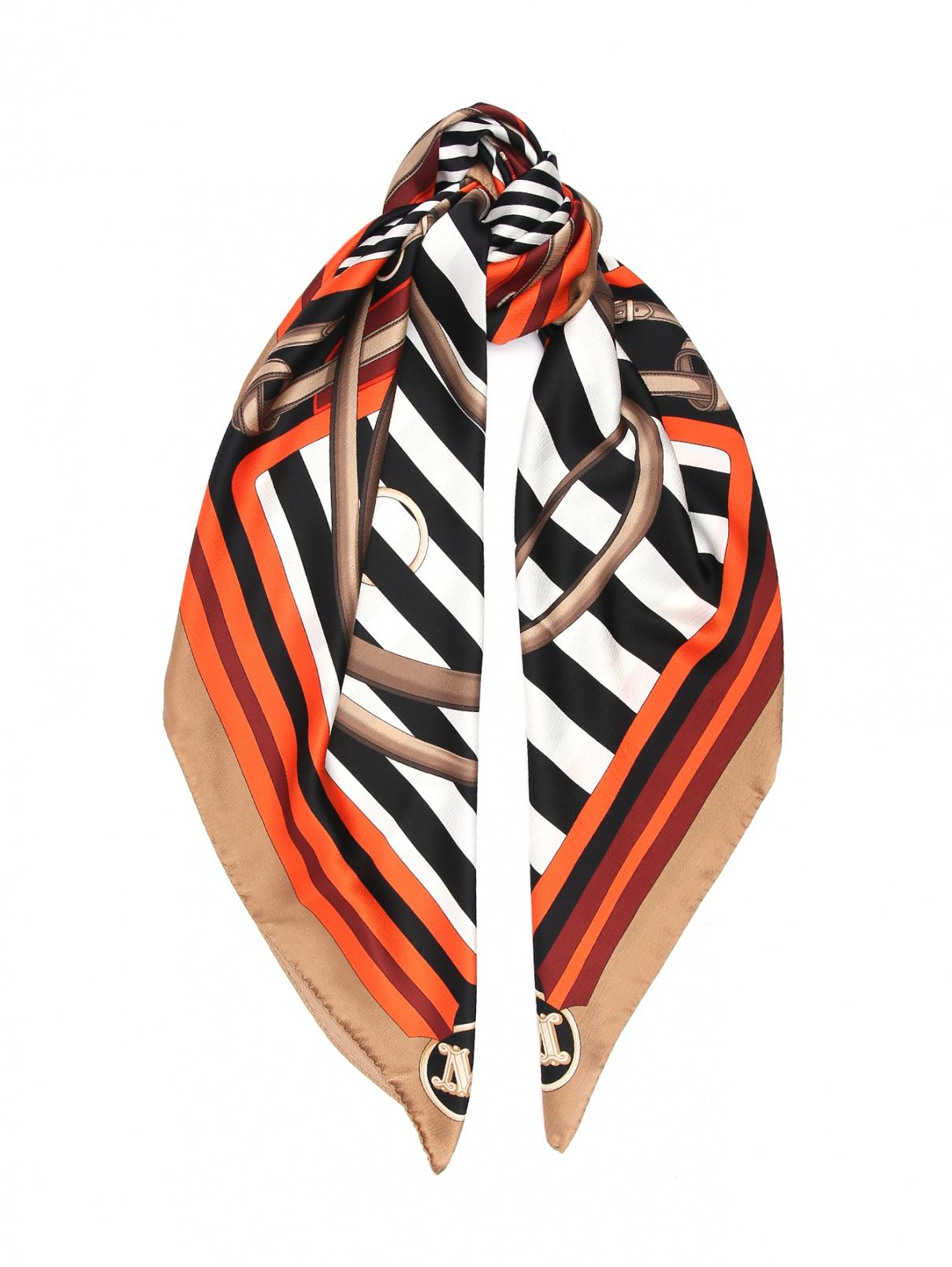 Платок из шелка с узором полоска Max Mara  –  Общий вид  – Цвет:  Узор