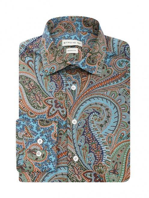 """Рубашка из смешанного хлопка с узором """"пейсли"""" - Общий вид"""