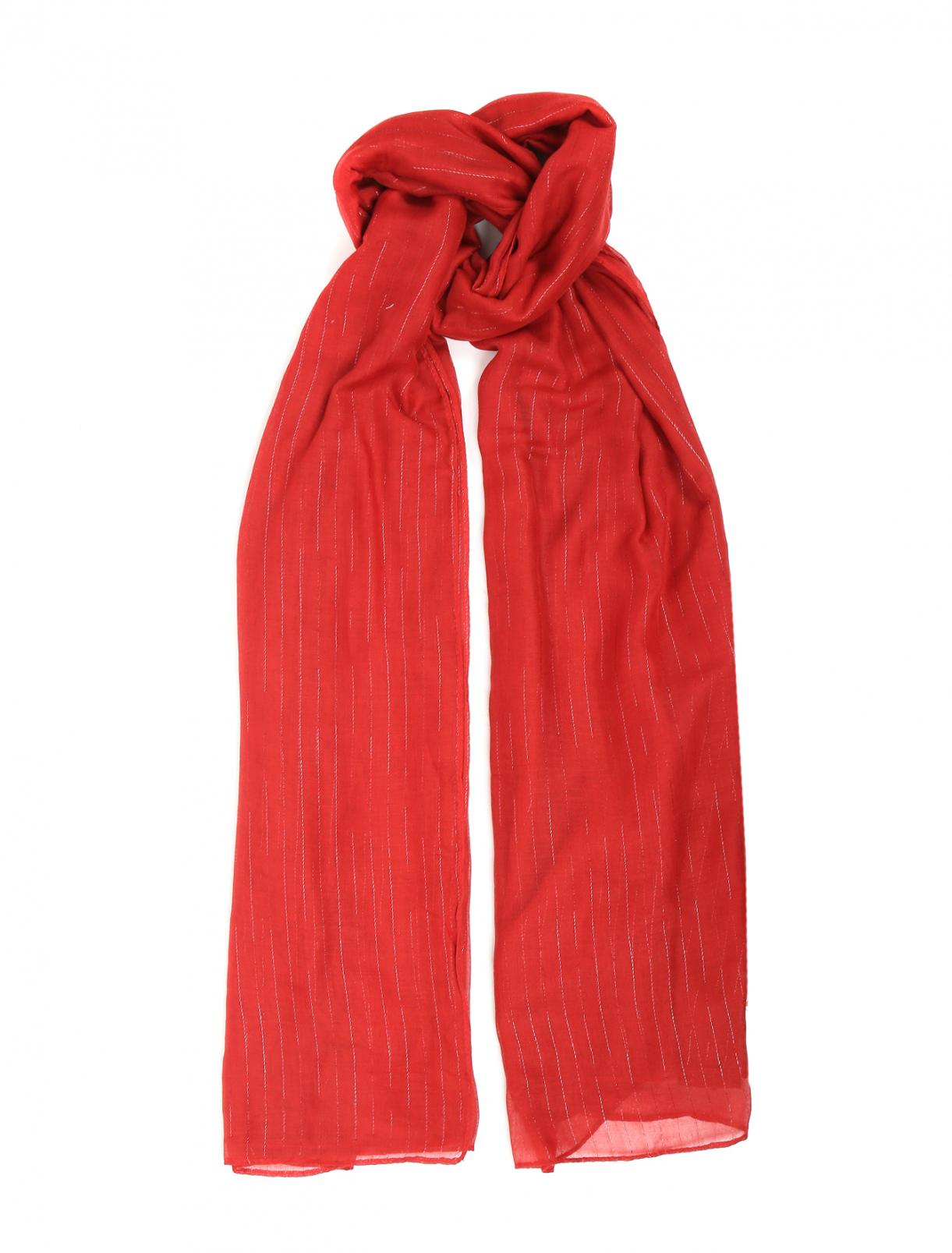 Шарф с узором полоска Max&Co  –  Общий вид  – Цвет:  Красный