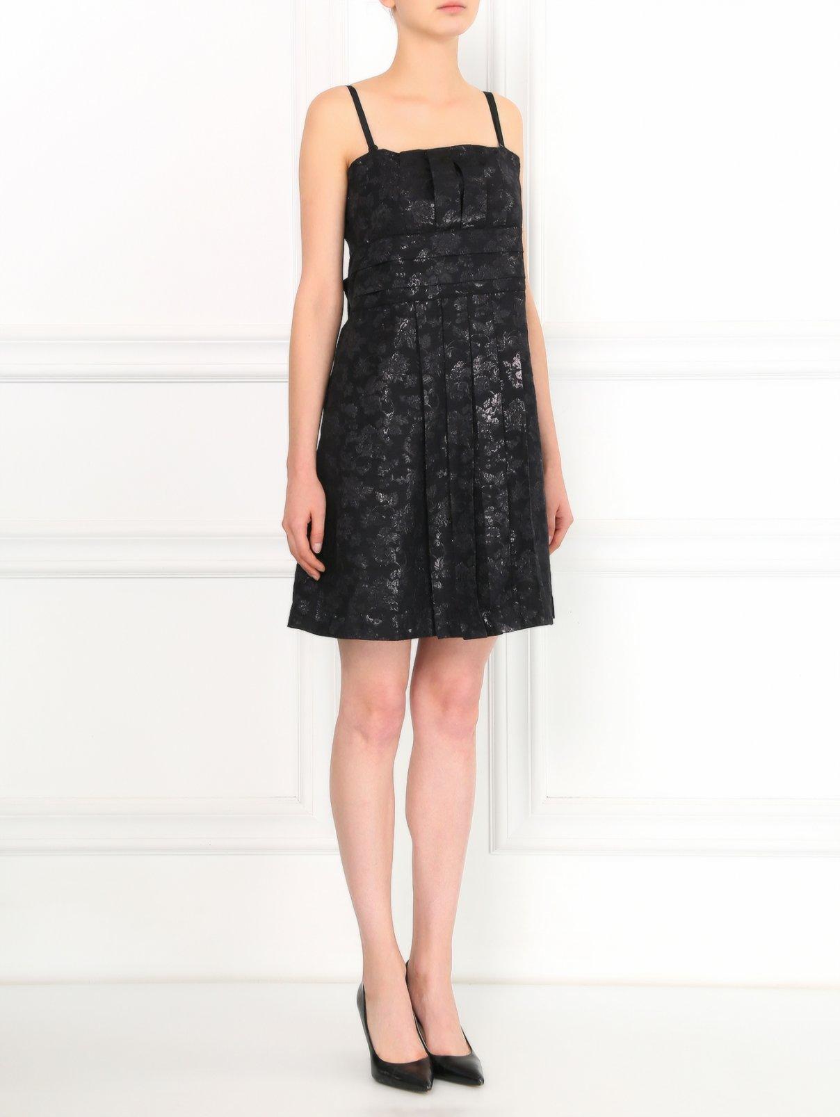 Платье-мини на съемных бретелях с декоративным бантом на спине Mariella Burani  –  Модель Общий вид  – Цвет:  Черный