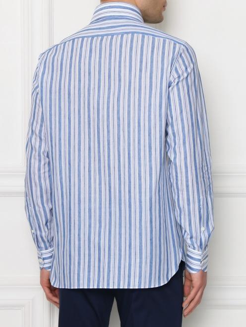 Рубашка из хлопка и льна с узором полоска - МодельВерхНиз1