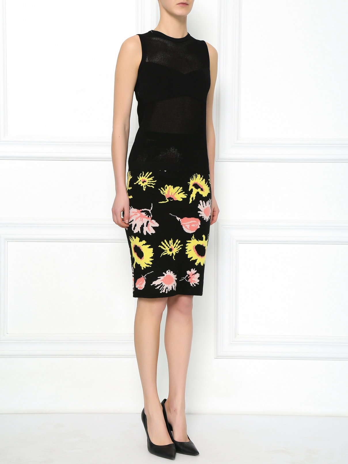 Трикотажная юбка-миди с цветочным узором Moschino  –  Модель Общий вид