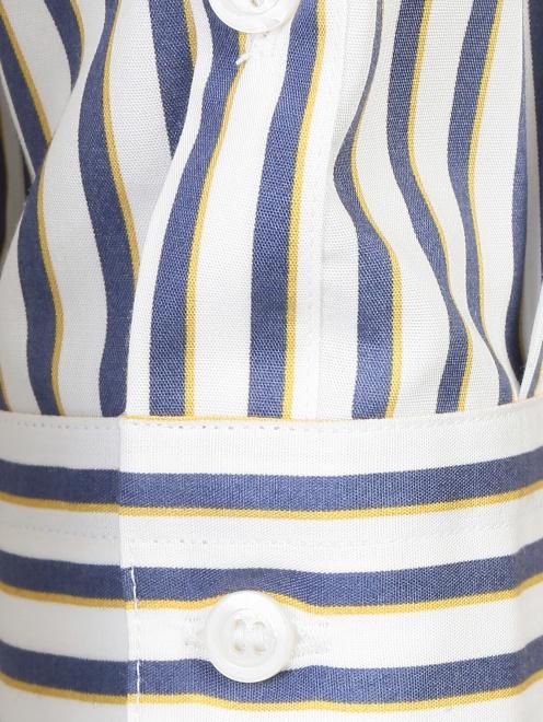 Блуза из хлопка в полоску с асимметричной застежкой - Деталь1